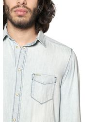 DIESEL - Blue Bleached Light Cotton Denim Shirt for Men - Lyst