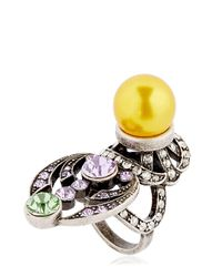 Mawi - Yellow Crystal & Imitation Pearl Ring - Lyst