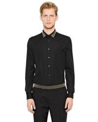 Alexander McQueen - Black Studded Satin Collar Cotton Poplin Shirt for Men - Lyst