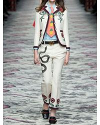 Gucci - Natural Embroidered Cotton & Silk Cady Pants - Lyst