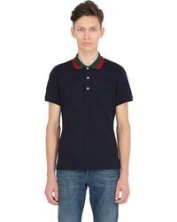 Gucci   Blue Web Collar Stretch Cotton Piqué Polo for Men   Lyst