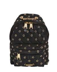 Moschino | Black Small Eyelets Quilted Nylon Backpack | Lyst