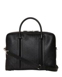 Givenchy - Black Logo Embossed Leather Briefcase for Men - Lyst