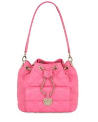 Metrocity | Pink Small Quilted Leather Bucket Bag | Lyst