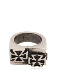 John Richmond | Black Double Cross Ring | Lyst