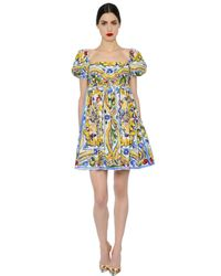Dolce & Gabbana | Black Printed Cotton-blend Shift Dress | Lyst