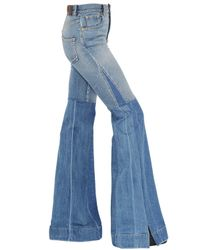 Roberto Cavalli | Blue Flared Two Tone Stretch Denim Jeans | Lyst