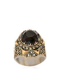 Alexander McQueen | Metallic Glass Stone & Swarovski Brass Ring for Men | Lyst