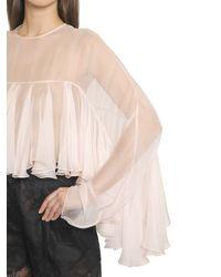Philosophy Di Lorenzo Serafini - White Ruffled Sheer Silk Chiffon Top - Lyst