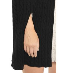 Philosophy Di Lorenzo Serafini | Black Ruffled Merino Wool Cable Knit Cape | Lyst