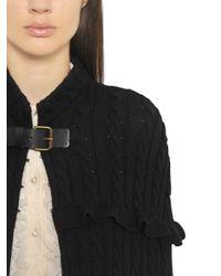 Philosophy Di Lorenzo Serafini - Black Ruffled Merino Wool Cable Knit Cape - Lyst