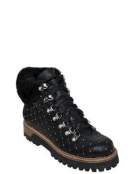 Le Silla Black 20mm Swarovski Quilted Leather Boots