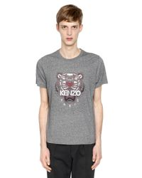 KENZO | Gray Tiger Printed Cotton Jersey T-shirt for Men | Lyst