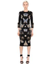Alexander McQueen | Black Butterfly Wool Blend Jacquard Knit Dress | Lyst