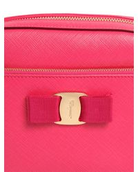 Ferragamo - Pink Lydia Grained Leather Camera Bag - Lyst