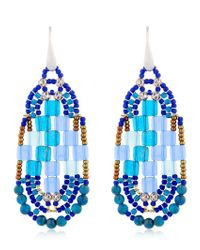 Ziio | Pixel Blue Beaded Earrings | Lyst