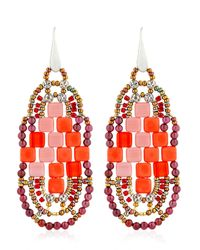 Ziio | Pixel Red Beaded Earrings | Lyst