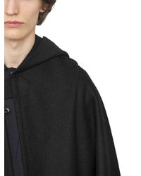 Christophe Lemaire - Black Hooded Melton Wool Cape for Men - Lyst