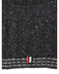Thom Browne - Gray Wool Cable Knit Scarf for Men - Lyst