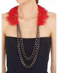 Alienina - Red Altrove Brass And Nylon Chain Necklace - Lyst