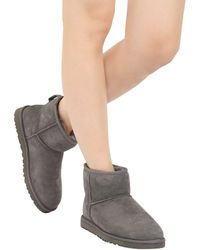 Ugg - Gray Classic Mini Shearling Boots - Lyst