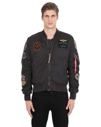 0f188c76f4a Lyst - Alpha Industries Ma-1 Pilot Bomber Jacket W  Patches in Black ...