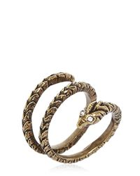 Saint Laurent | Brown Engraved Python Brass Ring | Lyst