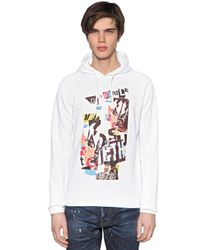 DSquared² | Gray Hooded Collage Printed Cotton Sweatshirt for Men | Lyst