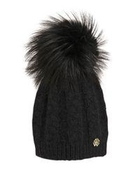 Roberto Cavalli   Black Wool Blend Hat W/ Fox Fur Pompom   Lyst
