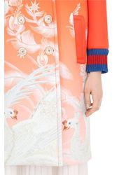 Gucci - Orange Printed Neoprene Coat W/ Web Cuffs - Lyst