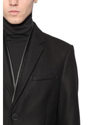 The Kooples - Black Wool Cloth Jacket W/ Nappa Leather Trim for Men - Lyst