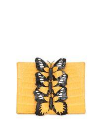 Nancy Gonzalez | Yellow Caiman Bag W/ Butterfly Appliqués | Lyst