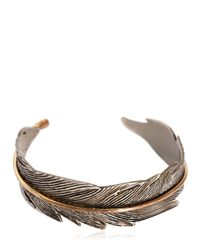 HTC Hollywood Trading Company | Metallic Feather Metal Cuff Bracelet for Men | Lyst