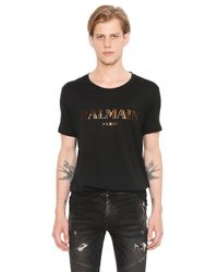 Balmain | Black Logo Printed Cotton Jersey T-shirt for Men | Lyst