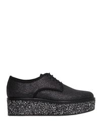 Sergio Rossi - Black 50mm Glittered Lace-up Shoes - Lyst