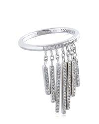 Nina Ricci - Metallic Fringe Ring With Crystals - Lyst