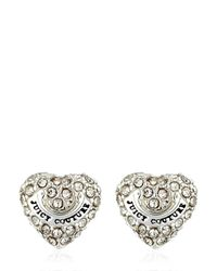 Juicy Couture | Metallic Embellished Heart Stud Earrings | Lyst