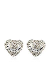 Juicy Couture - Metallic Embellished Heart Stud Earrings - Lyst