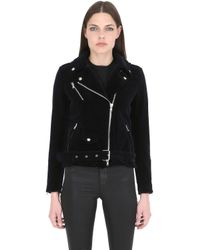 Route Des Garden - Blue Slim Fit Velvet Biker Jacket - Lyst