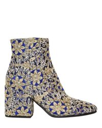 Strategia | Blue 70mm Embroidered Satin Ankle Boots | Lyst