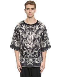 Dolce & Gabbana | Black Mary With Child Printed Linen T-shirt for Men | Lyst