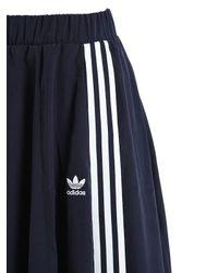 Adidas Originals - Blue 3 Stripe Techno Satin Midi Skirt - Lyst