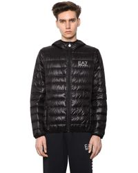 EA7 | Black Packable Hooded Quilted Down Jacket for Men | Lyst