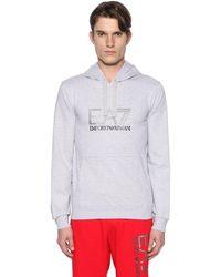 EA7 | Gray Logo Hooded Cotton Sweatshirt for Men | Lyst