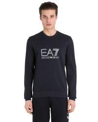 EA7 | Blue Logo Cotton Sweatshirt for Men | Lyst