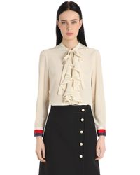 Gucci | White Ruffled Silk Crepe De Chine Shirt | Lyst