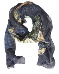 Etro | Blue Paisley Printed Silk & Linen Scarf for Men | Lyst