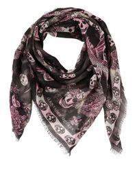 Alexander McQueen   Pink Skulls Print Silk Blend Scarf   Lyst
