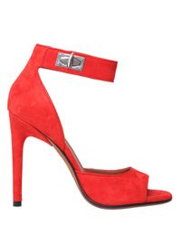 Givenchy | Red Shark Lock Suede Sandals | Lyst
