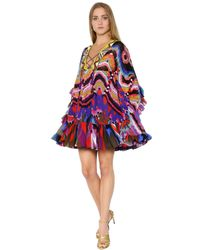 Roberto Cavalli | Multicolor Embroidered & Print Silk Georgette Dress | Lyst